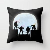 ninja turtles Throw Pillows featuring Teenage Mutant Ninja Turtles by offbeatzombie