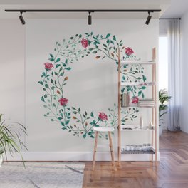 Spring Roses Wreath Pink Blush Wall Mural