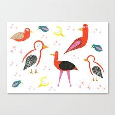 Birds and footprints Canvas Print