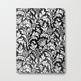 William Morris Thistle Damask, Black and White Metal Print