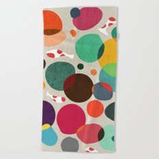 Lotus in koi pond Beach Towel