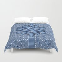 tote bag Duvet Covers featuring Winter Holiday Christmas Gift Wrapped Effect Tote Bag by Moonlake Designs