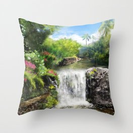 Hawaiian  Garden Throw Pillow