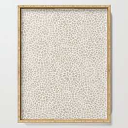 Watercolor abstract dotted circles neutral beige Serving Tray