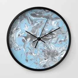 Cyan and grey Marble texture acrylic Liquid paint art Wall Clock