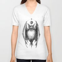 bat V-neck T-shirts featuring Bat by Ulla Thynell