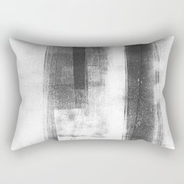 """Black and White Minimalist Geometric Abstract Painting """"Structure"""" Rectangular Pillow"""