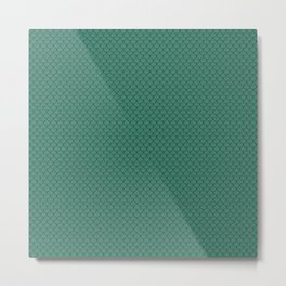 Viridian Green Scales Pattern Metal Print