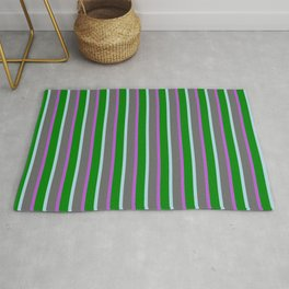 Orchid, Dim Grey, Light Blue & Green Colored Stripes Pattern Rug