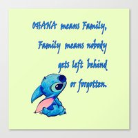 lilo and stitch Canvas Prints featuring Lilo & Stitch - Ohana Quote by MarcoMellark