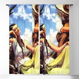 Love and Spanish Guitar (tocaores) in the Sonoran Desert, Señorita romantic portrait painting Blackout Curtain