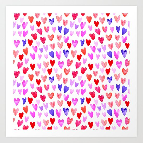 Watercolor Hearts pattern love gifts for valentines day i love you Art Print