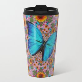 GRUNGY SUNFLOWER & BLUE BUTTERFLIES  PINK PATTERN Travel Mug