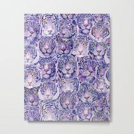 Lilac Tiger Heads Metal Print