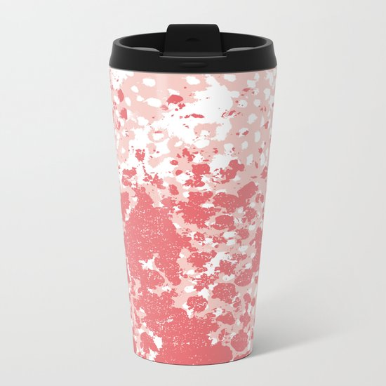 Abstract minimal pink and coral painting home decor abstract charlotte winter art Metal Travel Mug