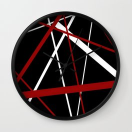 Red and White Stripes on A Black Background Wall Clock
