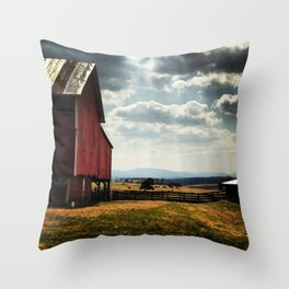 Red barn with mountain view Throw Pillow