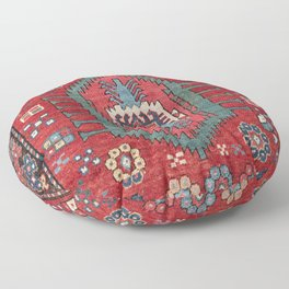 Tribal Honeycomb Palmette IV // 19th Century Authentic Colorful Red Flower Accent Pattern Floor Pillow
