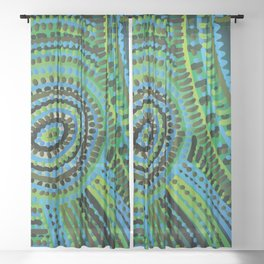 turquoise circus Sheer Curtain