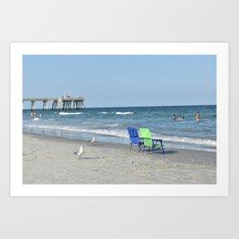 Gulls and Beach Chairs / Wrightsville Beach, NC Art Print
