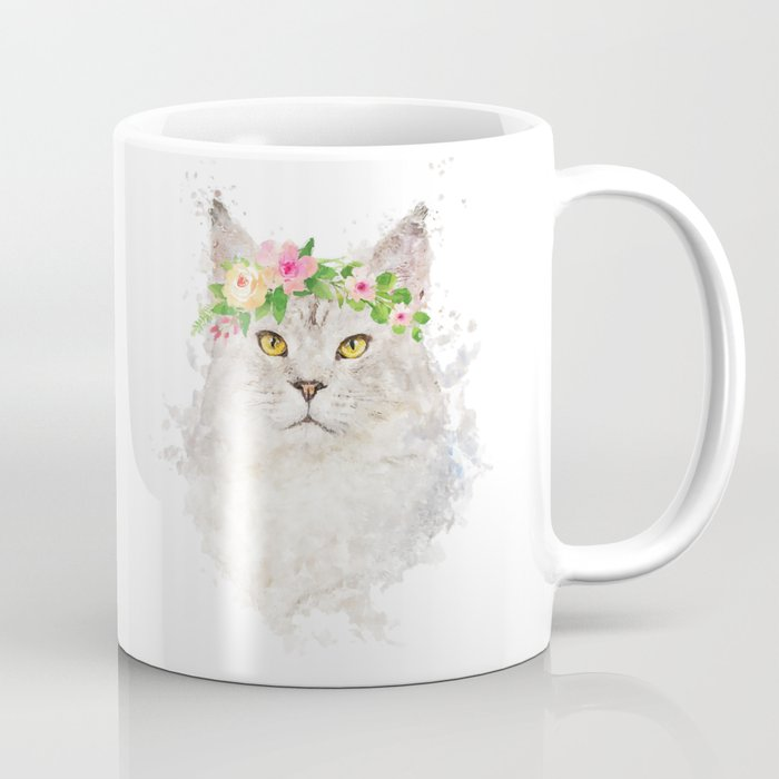 Boho cat portrait with flower crown Coffee Mug