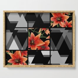 """From the series """" Favorite patchwork """". Lilies on black. Serving Tray"""