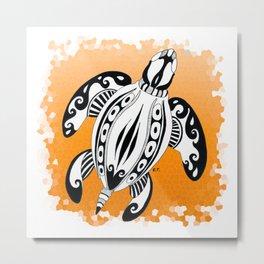 Sea Turtle Tribal Tattoo Ink Orange Metal Print