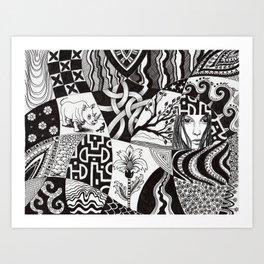 Rhino and a bird Art Print