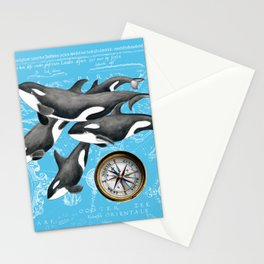 Orca Whales Pod Blue Compass Vintage Map Stationery Cards