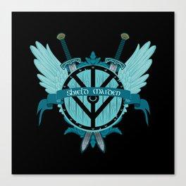 Shield Maiden Winged Teal Viking Shield Canvas Print
