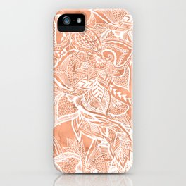 Modern tan copper terracotta watercolor floral white boho hand drawn pattern iPhone Case
