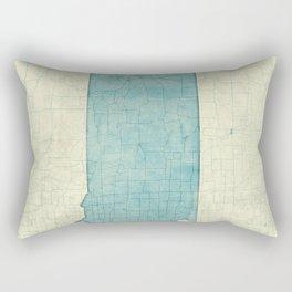 South Dakota State Map Blue Vintage Rectangular Pillow