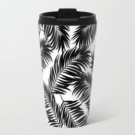 Palm Frond Tropical Décor Leaf Pattern Black on White Travel Mug