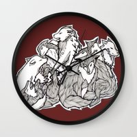 wolves Wall Clocks featuring Wolves by Freja Friborg