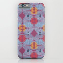 Blue Folk Art Geometric iPhone Case