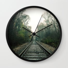 Creepy foggy railroad Wall Clock