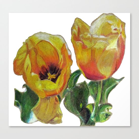Bright Yellow Tulips Flower Drawing Canvas Print