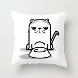 Mad Hungry Cat Throw Pillow
