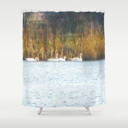Swans in Autumn Shower Curtain