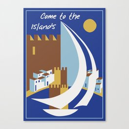 Come to the islands retro travel Canvas Print