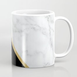 Marble, Black, White, Gold, Abstract Color Block Coffee Mug