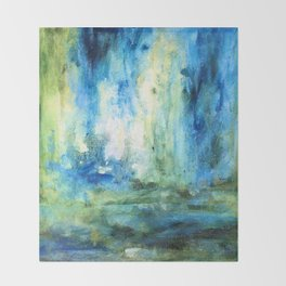 Contemporary Abstract Painting Spring Rain Throw Blanket