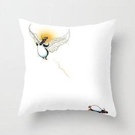 Flying Penguin Throw Pillow