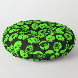 Just green skulls Floor Pillow