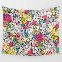 vintage flowers Wall Tapestries featuring Vintage flowers by Love2Snap