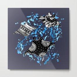 Patterned Ocean Manta Rays Metal Print