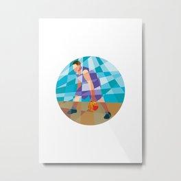Basketball Player Dribbling Ball Circle Low Polygon Metal Print