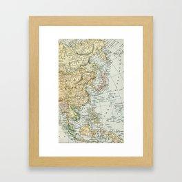 China, Russia, Japan Vintage Map Framed Art Print