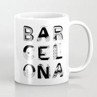 barcelona Mugs featuring Barcelona by Anita Dinamita