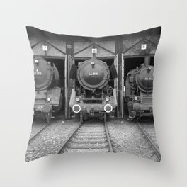 Old steam locomotive in the depot ZUG012CBx Le France black and white fine art photography by Ksavera Throw Pillow
